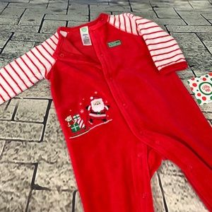 Little Me 1st Christmas Footed Velour One Piece